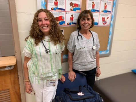 School nurses Mrs. Carla Russo (left) and Mrs. Suzanne Cutrone (right) work hard every day keeping our students and staff safe and healthy.